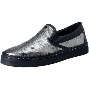 MCM Visetos Metallic Logo Slip On Sneakers Shoes